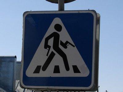 Автоинспекторы обнаружили в облцентре самодельный знак пешеходного перехода