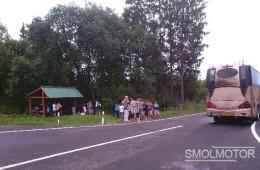 В Смоленской области на ходу загорелся автобус с детьми.