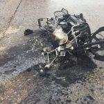 В дорожной аварии в Духовщинском районе сгорел мопед