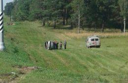 В районе Козловки Renault Mégane вылетел в придорожный ров
