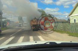 В Смоленске возле школы загорелся «КамАЗ»