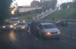 В Смоленске Большая Советская стала в пробке из-за ДТП