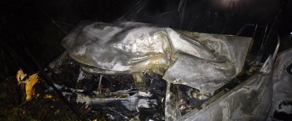 В Сафоновском районе легковушка вылетела в кювет и загорелась