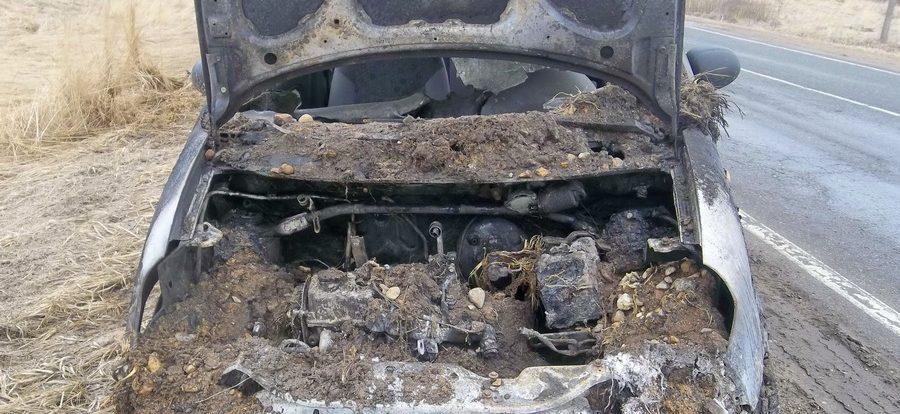 На дороге в Смоленской области загорелся «Daewoo Matiz»