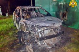 В Новодугинском районе в селе Тесово горела иномарка