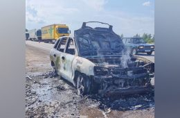 В Гагаринском районе на трассе загорелся автомобиль «Hyundai Santa Fe»